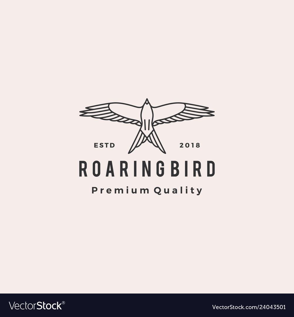 Roaring bird logo retro hipster vintage icon