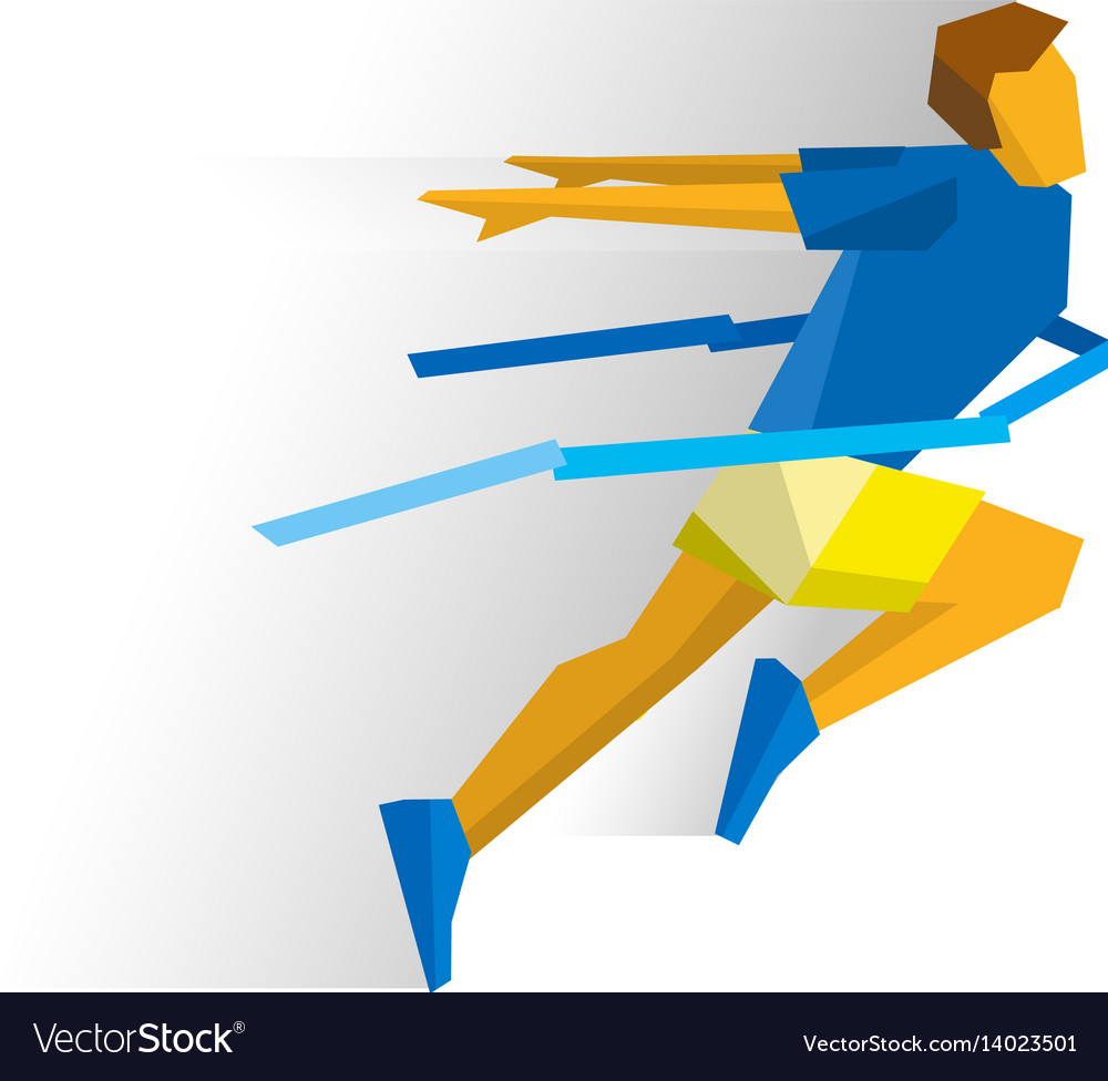 Running athlete crosses a finish line ribbon vector image
