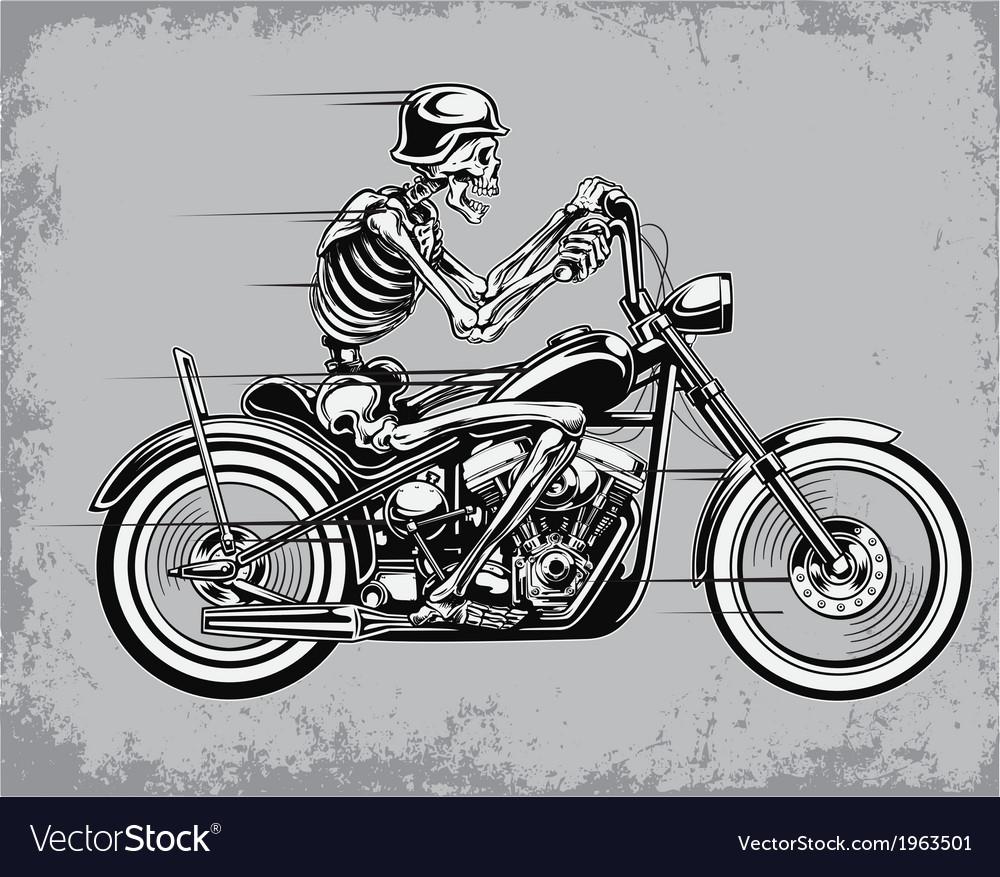 Skeleton riding motorcycle