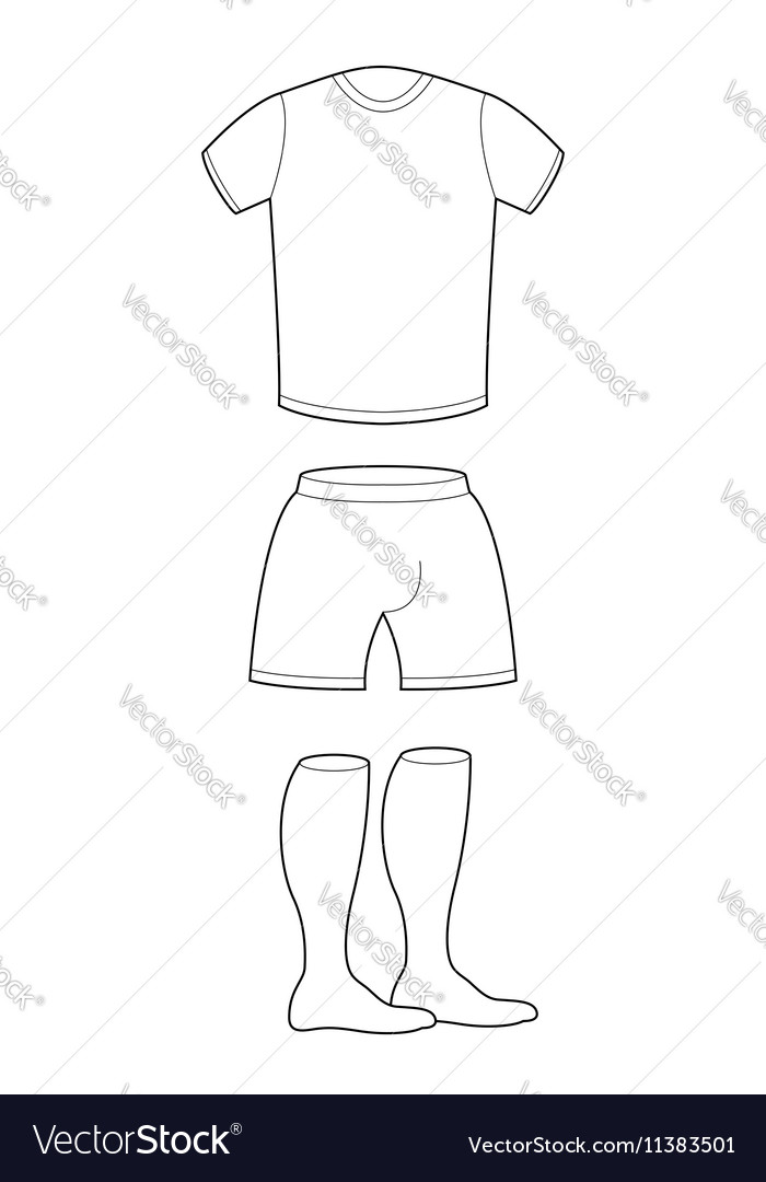 t shirt shorts and socks template for design vector image