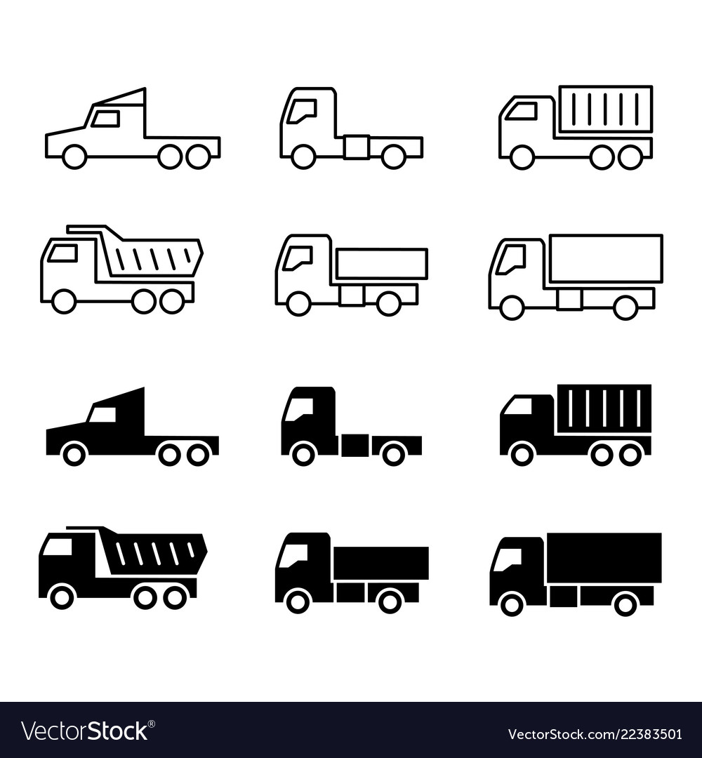 Truck silhouette and line icons shipping cargo