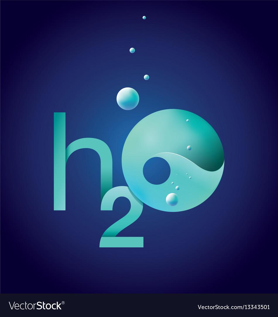 Water h2o emblem vector image