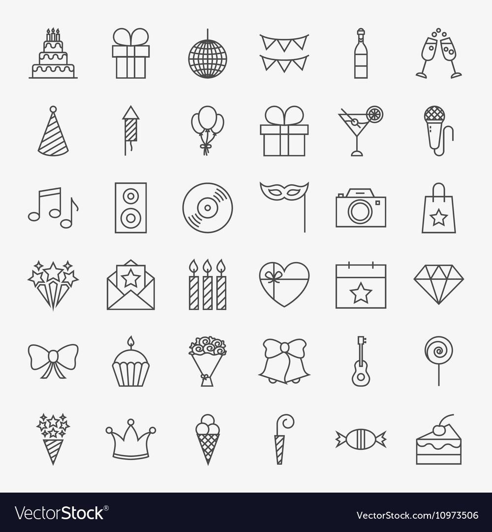 Birthday Line Icons Set