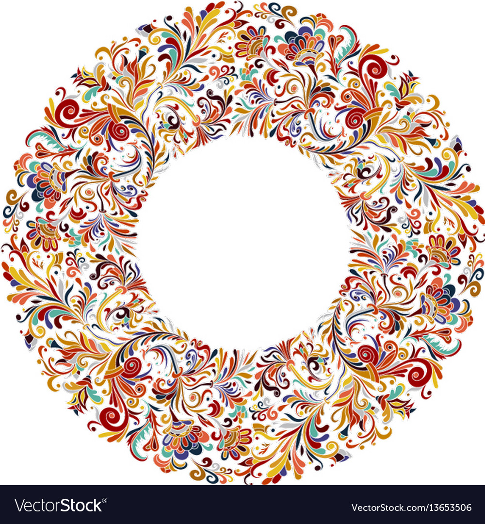 Circle frame wreath design made of doodle