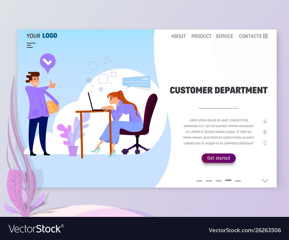 Concept customer service department for website