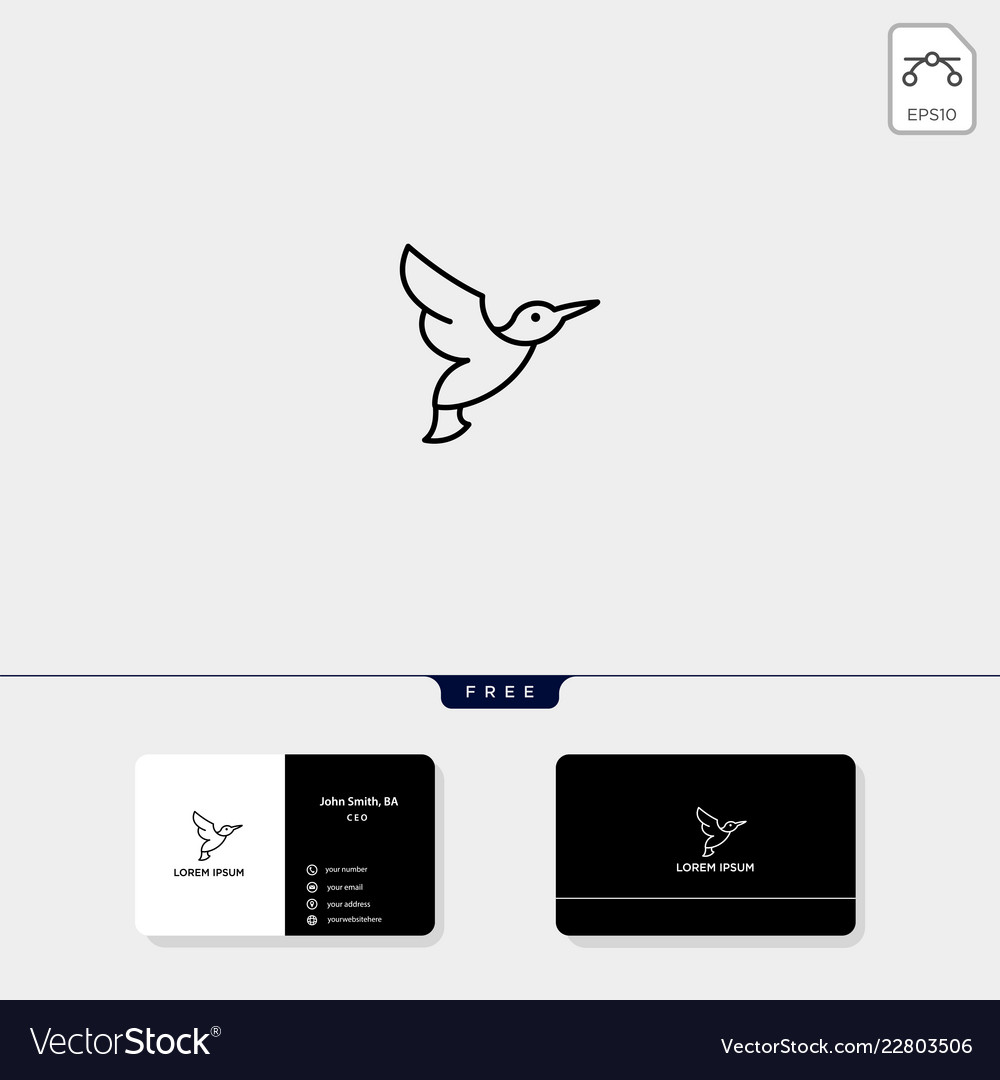 Flying bird outline logo template and business