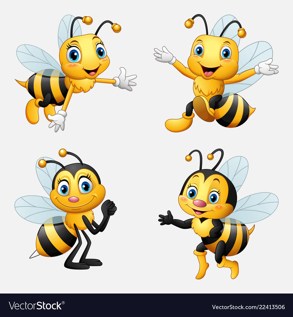 Funny Cartoon Bee Collection Royalty Free Vector Image