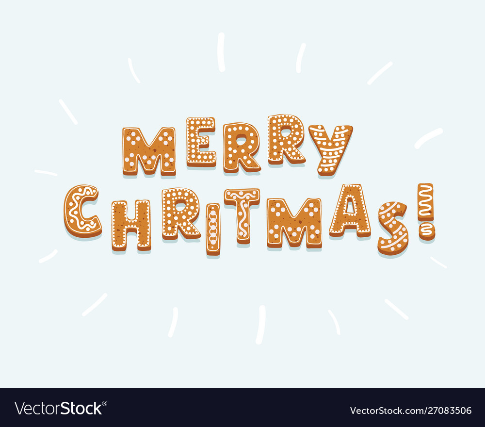 Gingerbread inscription merry christmas on white
