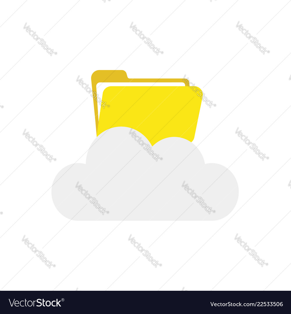 Icon concept of opened file folder on cloud