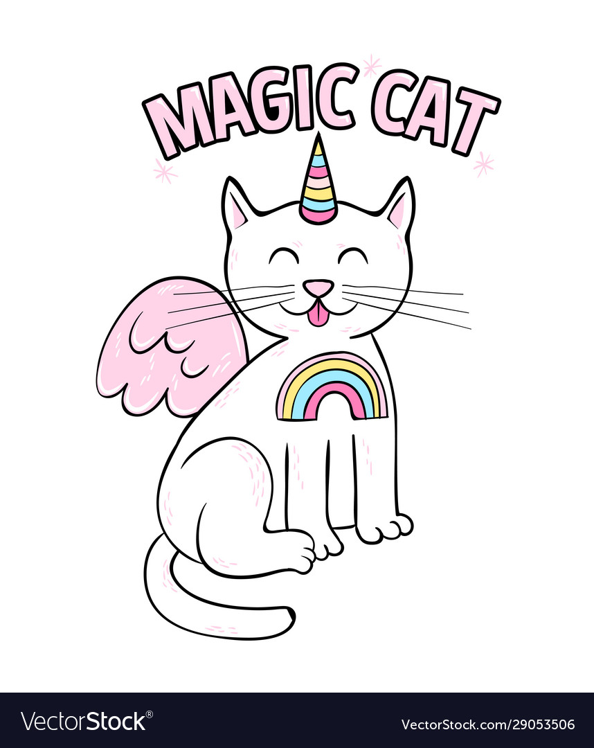 Magic cute cat unicorn fashion print design