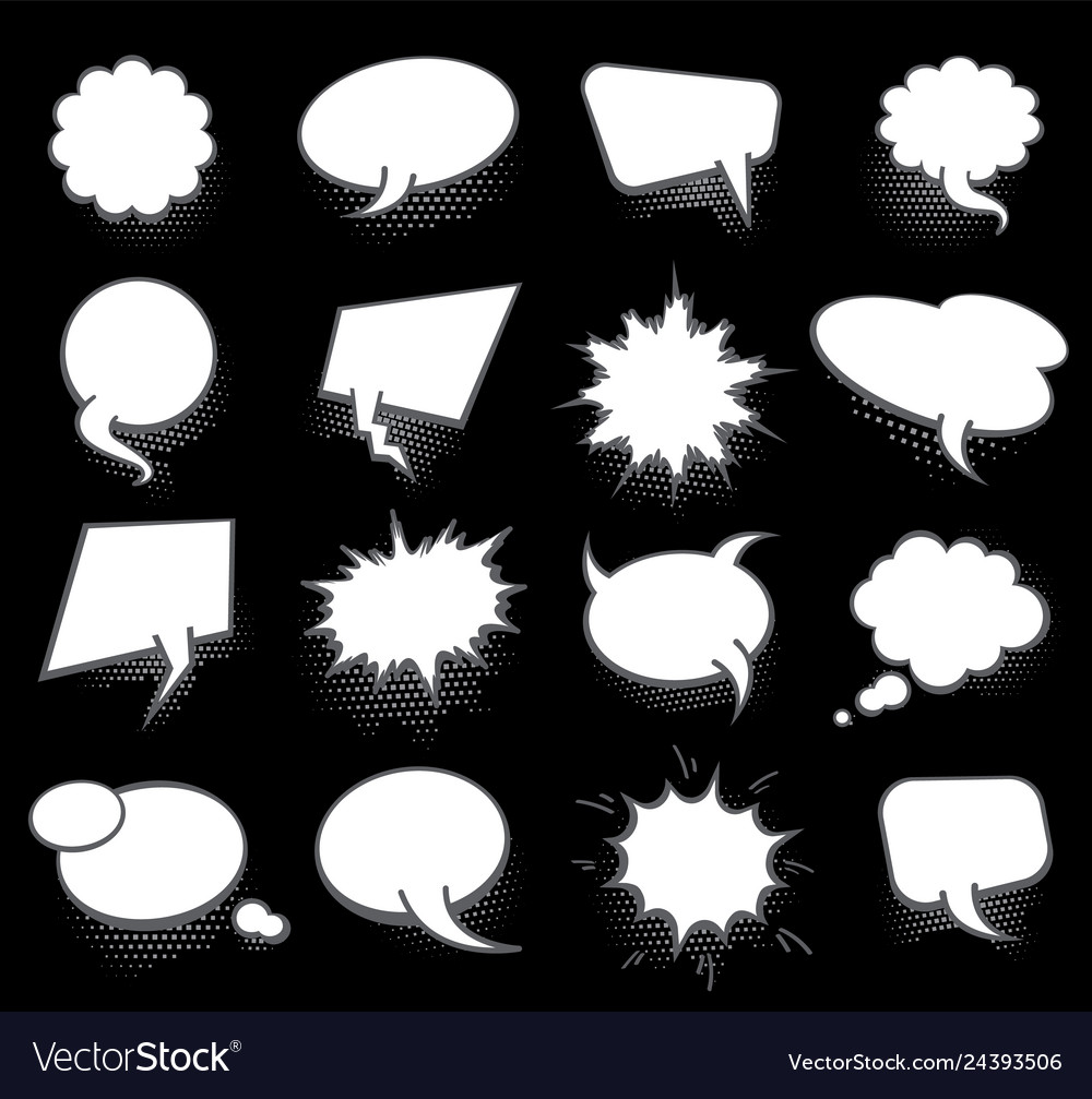 Set of blank template in pop art style comic text