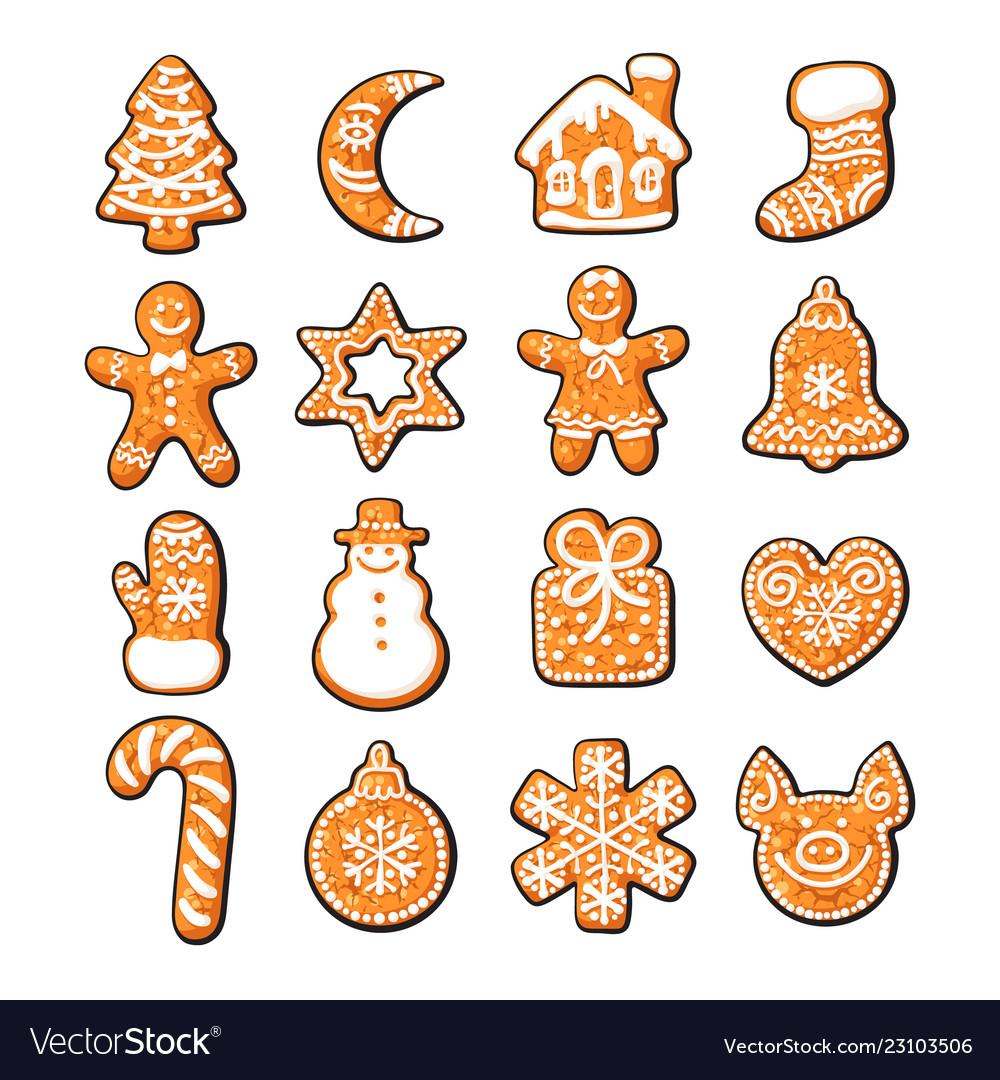 Set of cute gingerbread christmas cookies hand