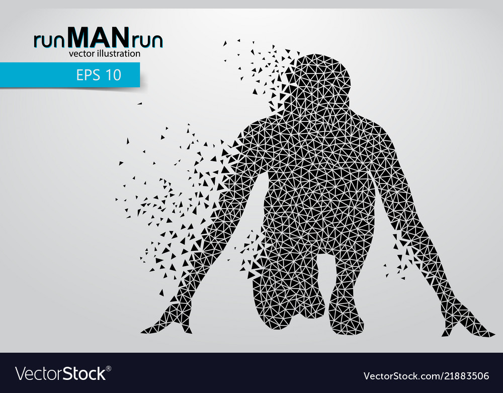 Silhouette of a running man from triangle