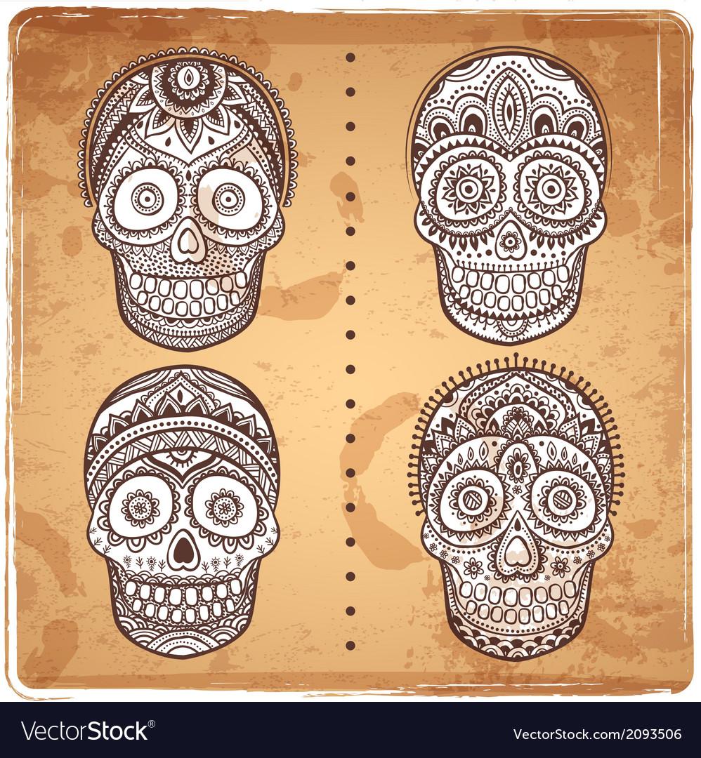 Vintage ethnic hand drawn human skulls set vector image