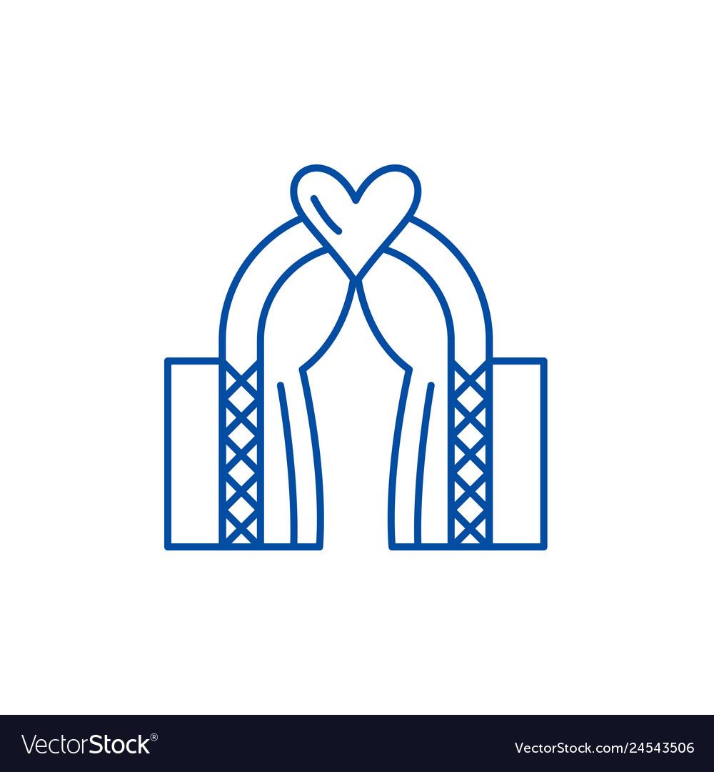 Wedding line icon concept wedding flat