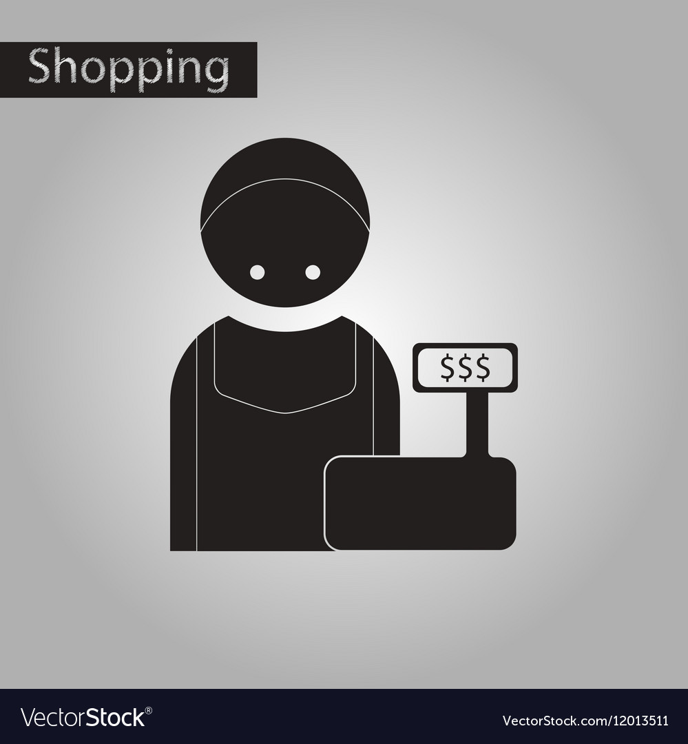 Black and white style icon cashier