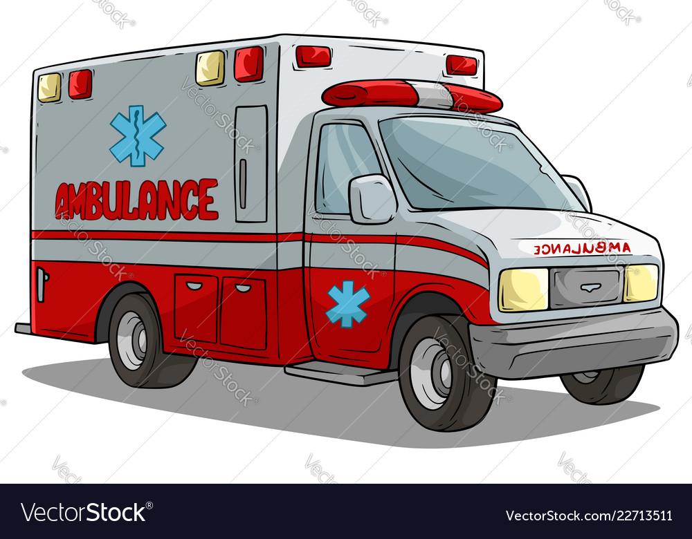 Cartoon ambulance emergency car or truck