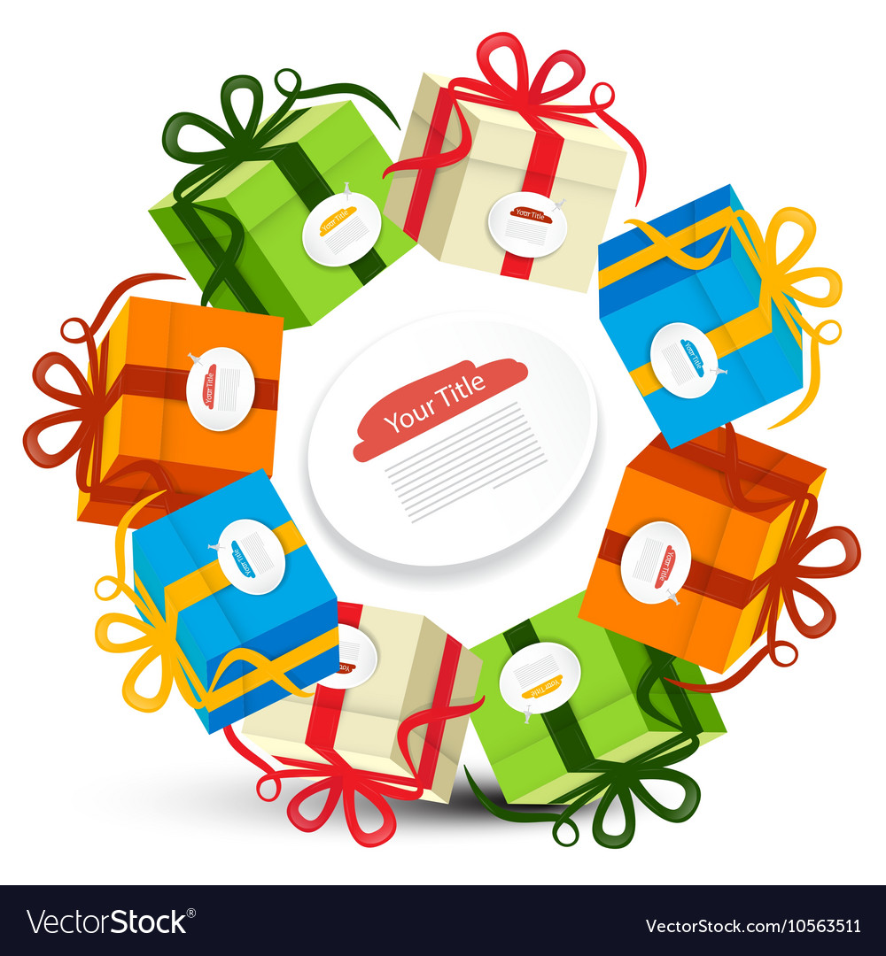 Gift Boxes in Circles Present Box Set Isolated on