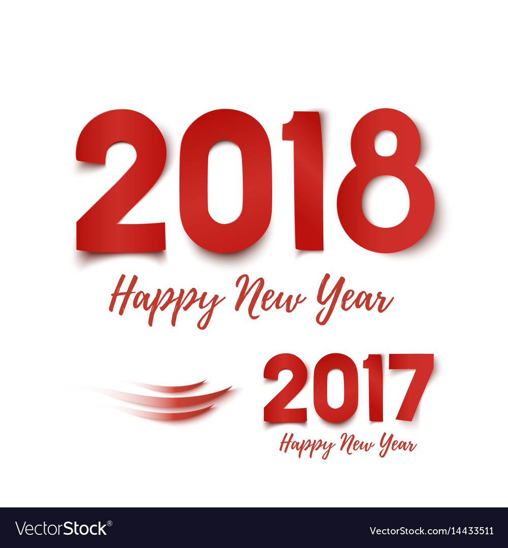 happy new year 2017 2018 greeting card template vector image