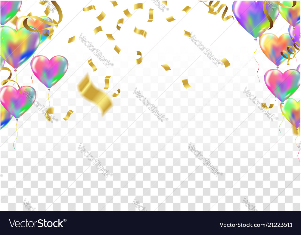 heart balloons confetti and streamers with vector image