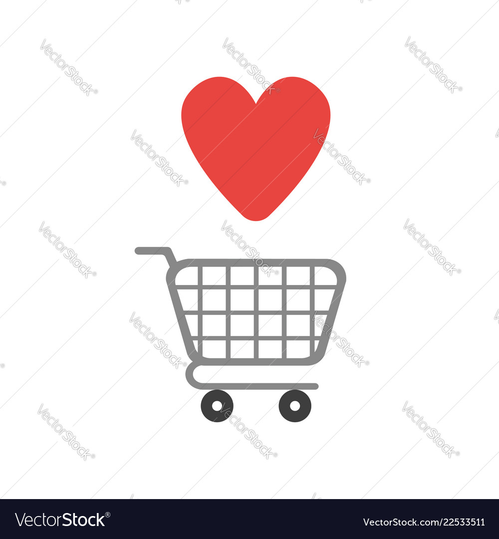 Icon concept shopping cart with heart