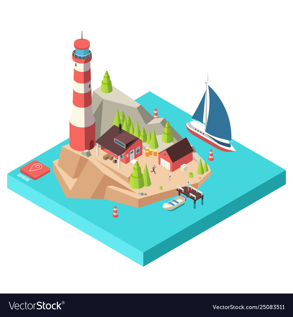Isometric lighthouse island with tower and house
