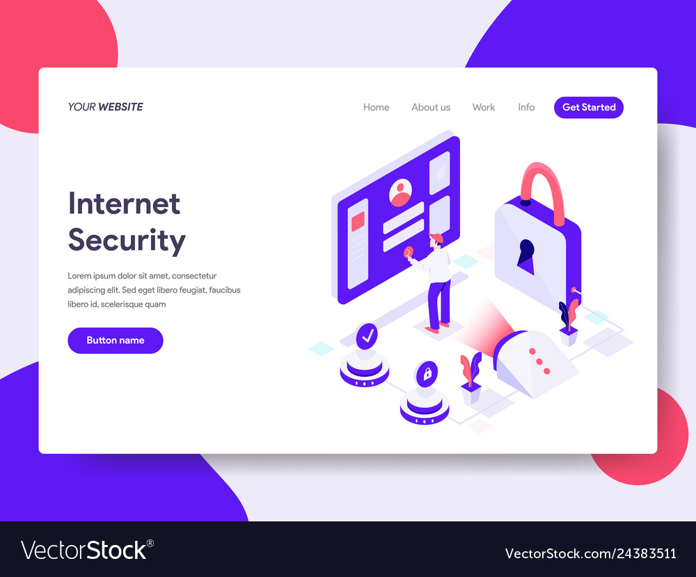 Landing page template of internet security