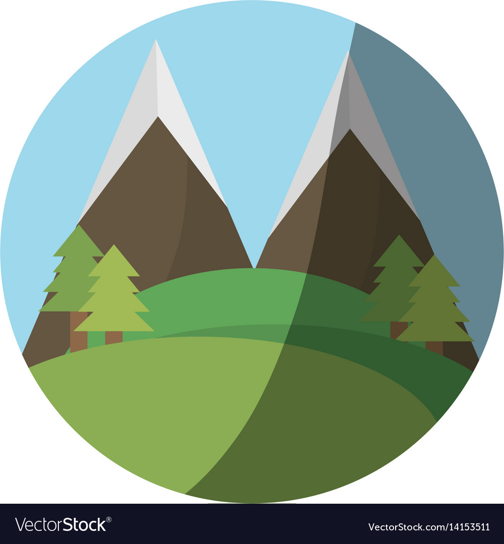 Landscape mountain forest shadow vector image