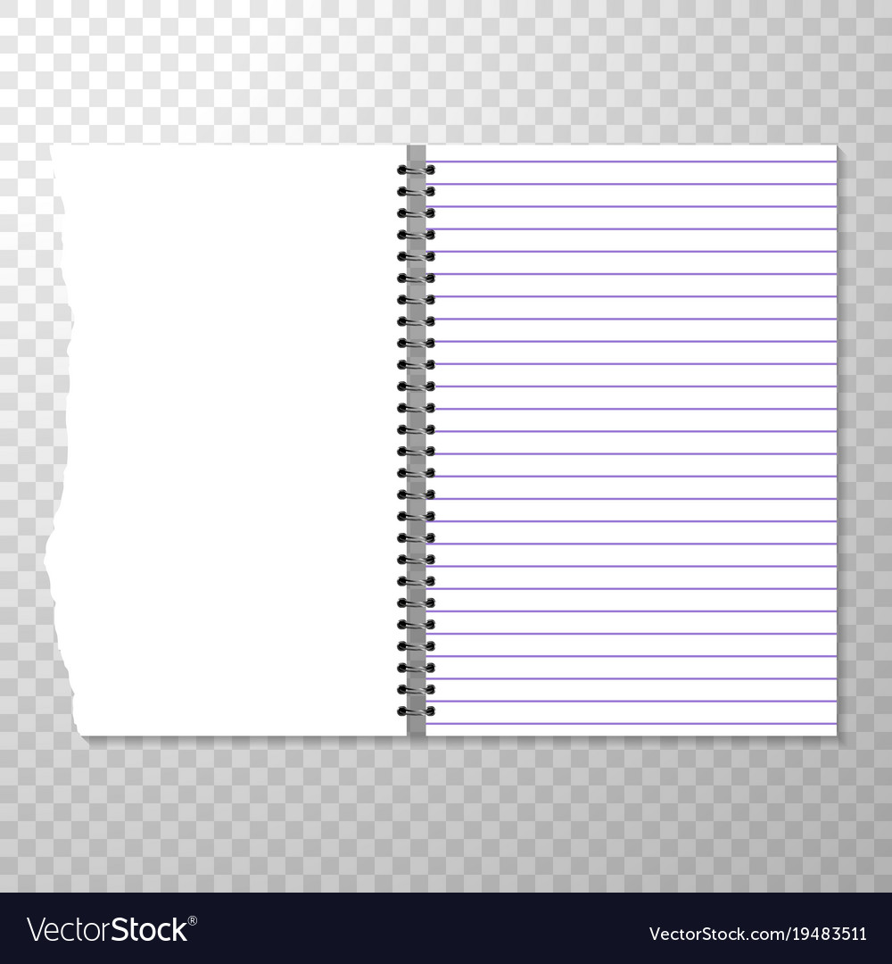 opened notebook template with lined and blank page