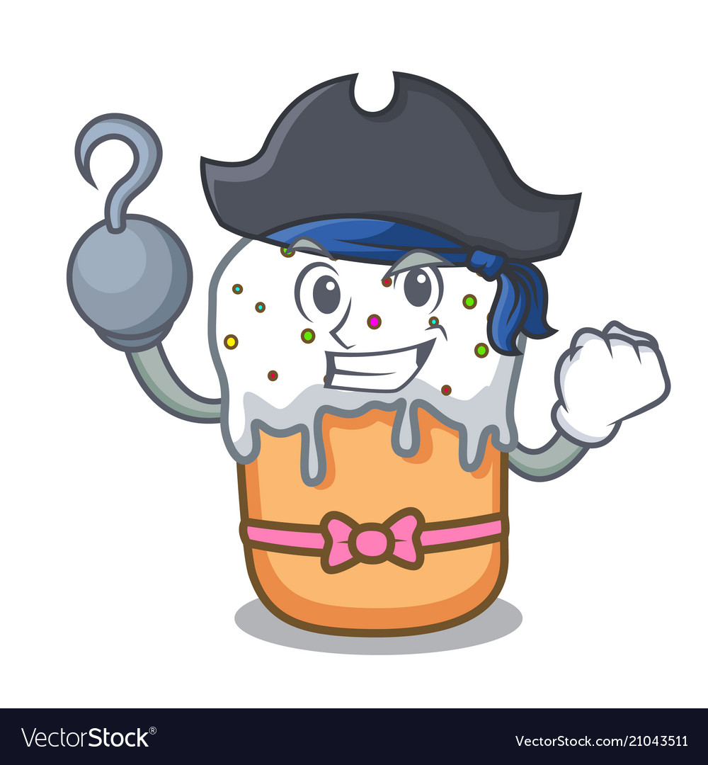 Pirate easter cake character cartoon vector image