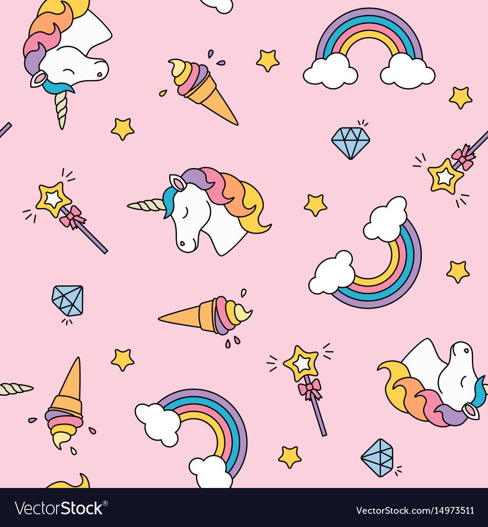 Unicorn rainbow and magic wand pastel colors