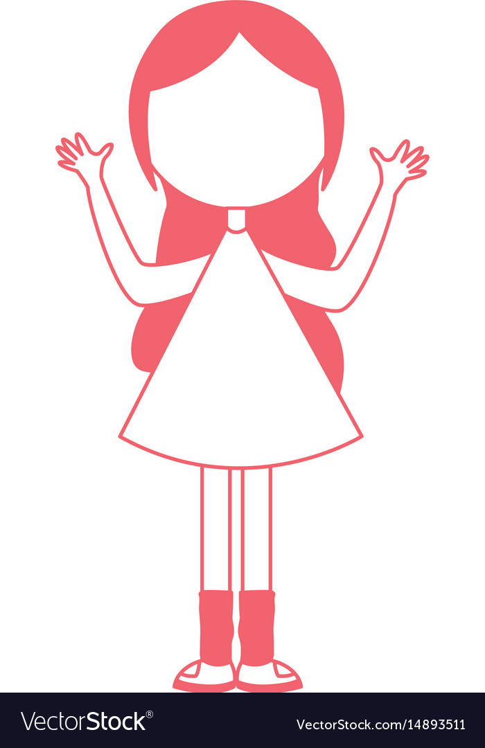 Young girl with hands up avatar character