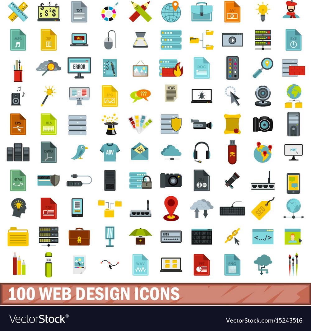 100 web design icons set flat style