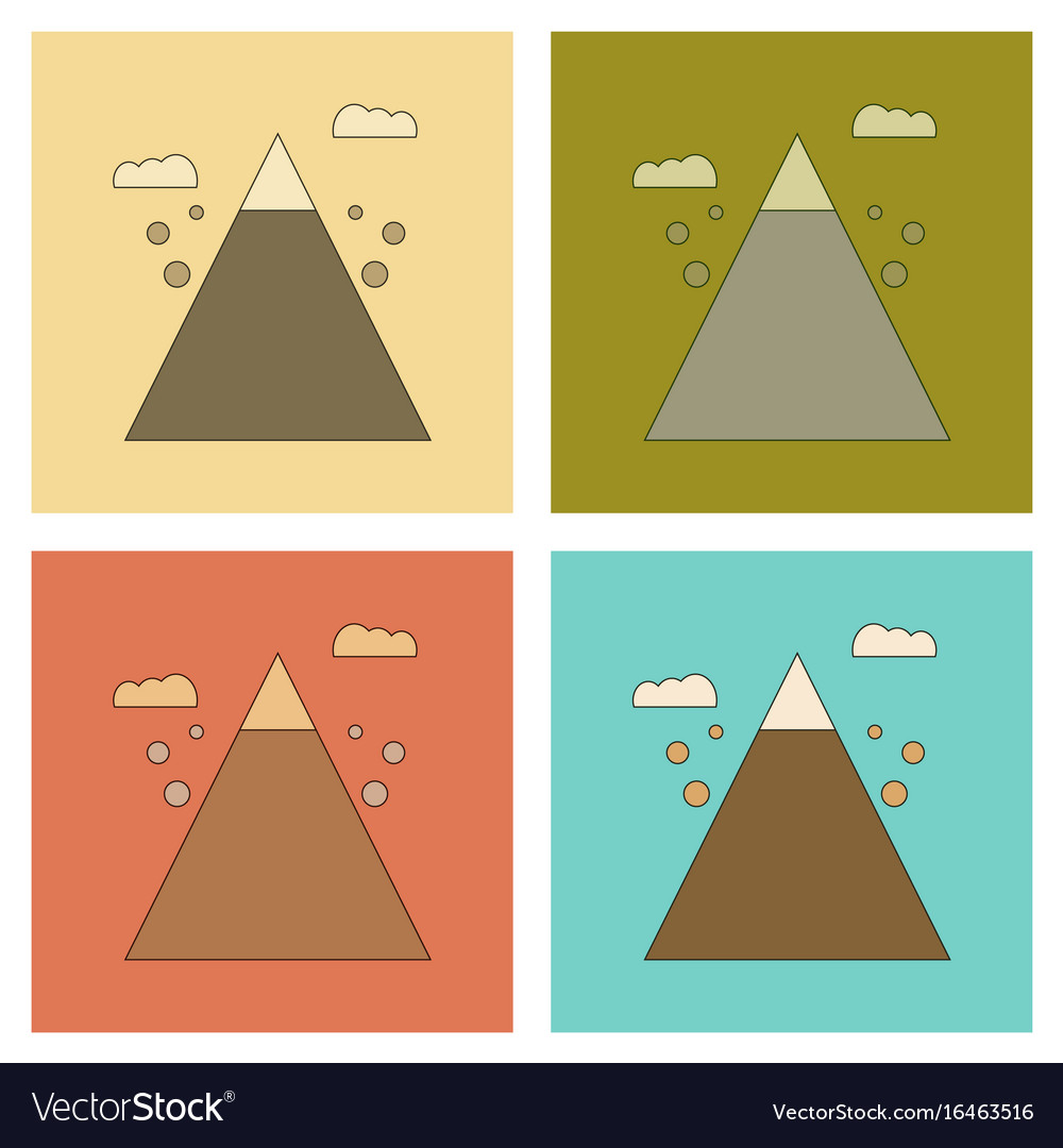 Assembly flat icons mountain stones fall