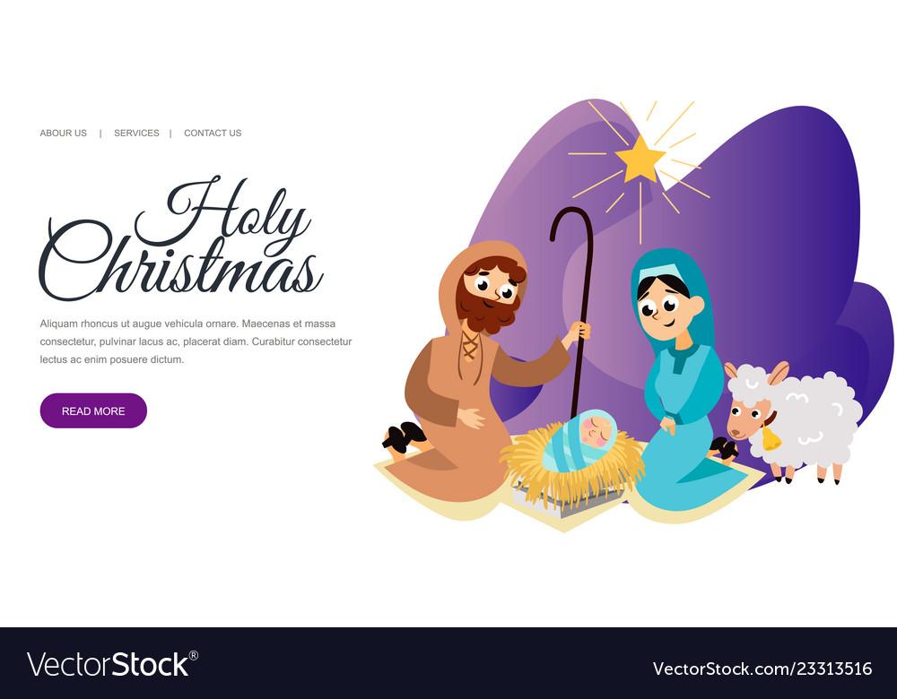 Baby jesus born in bethlehem scene in holy family