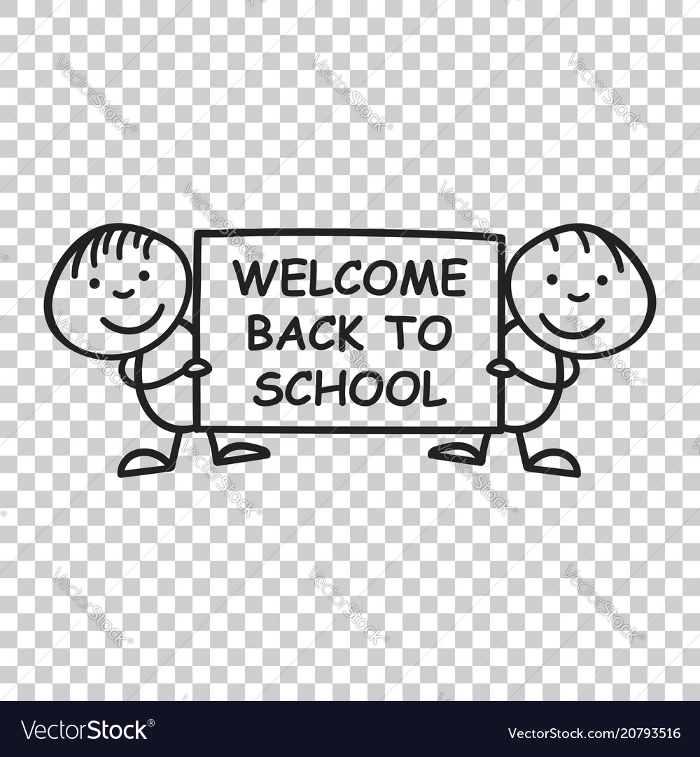 Back to school placard in hands icon on isolated