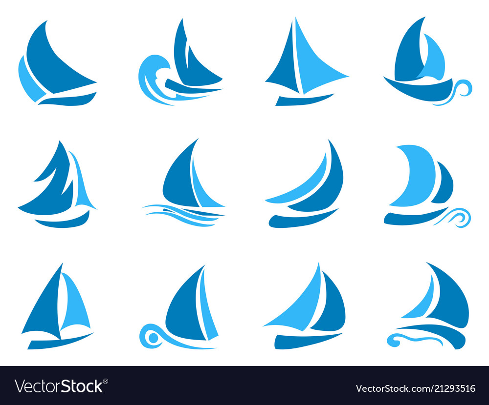 Blue abstract sailboat icon