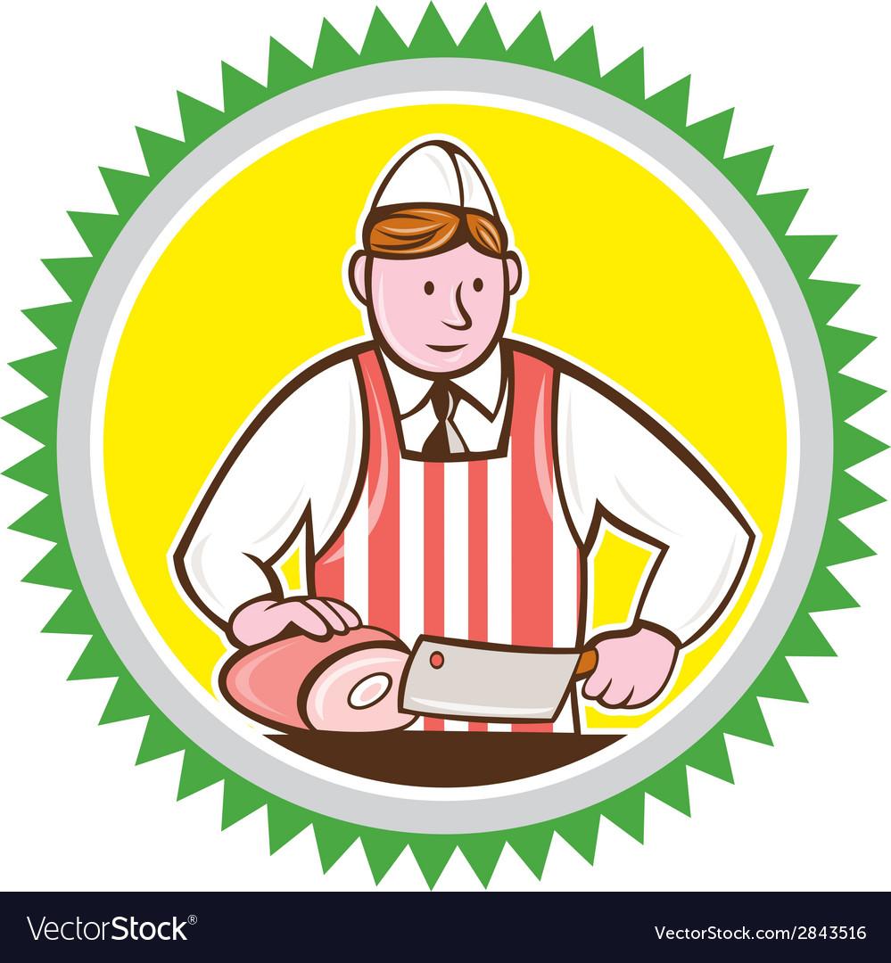 Butcher Chopping Ham Rosette Cartoon vector image