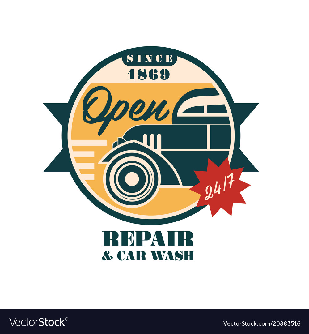 Car repair and wash since 1869 logo design auto