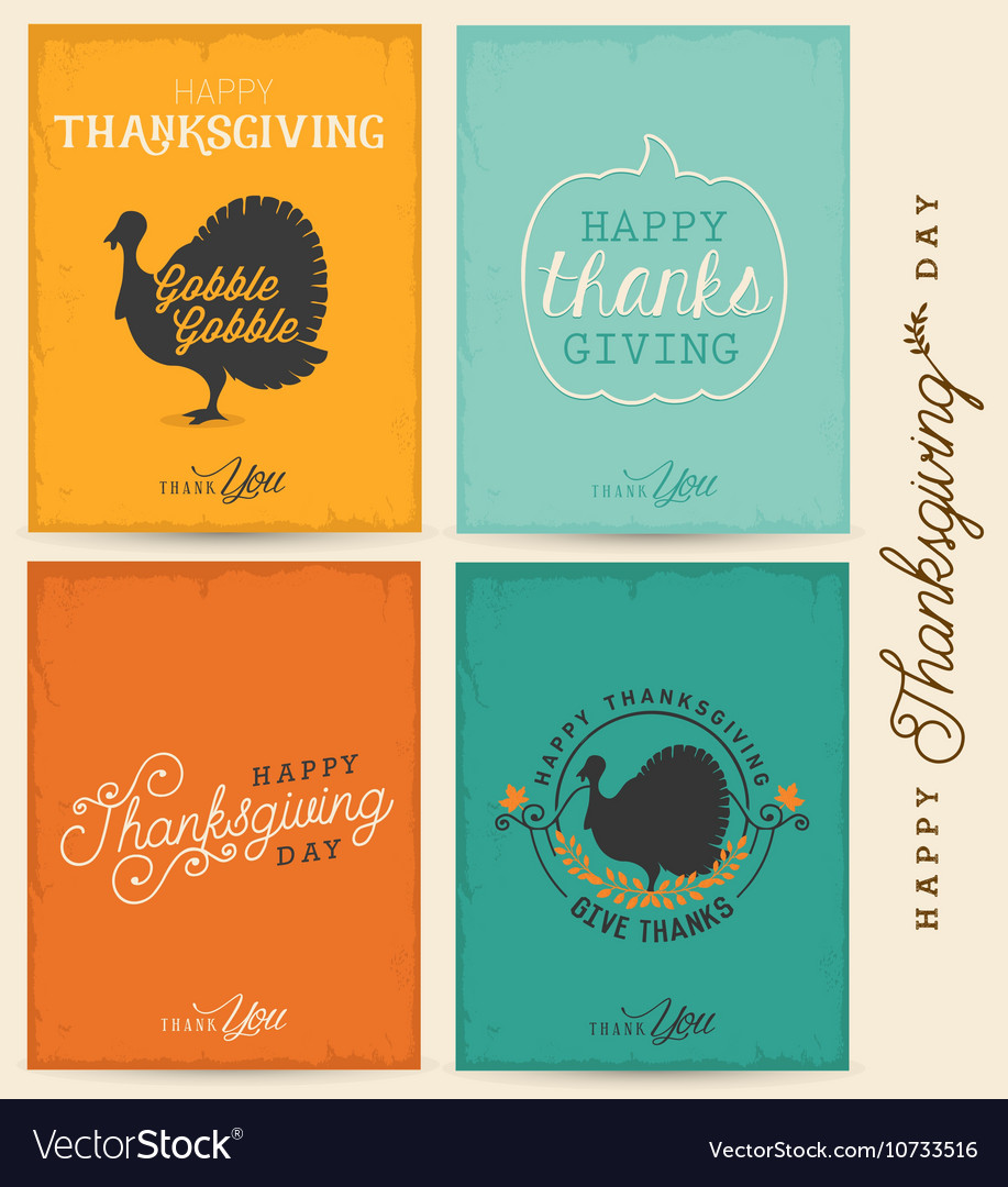 Colorful Typographical Thanksgiving Greeting Card