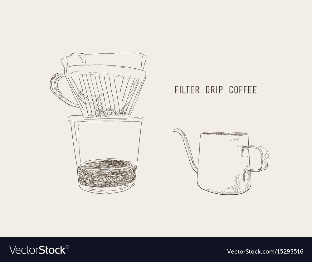 Filter drip coffee sketch