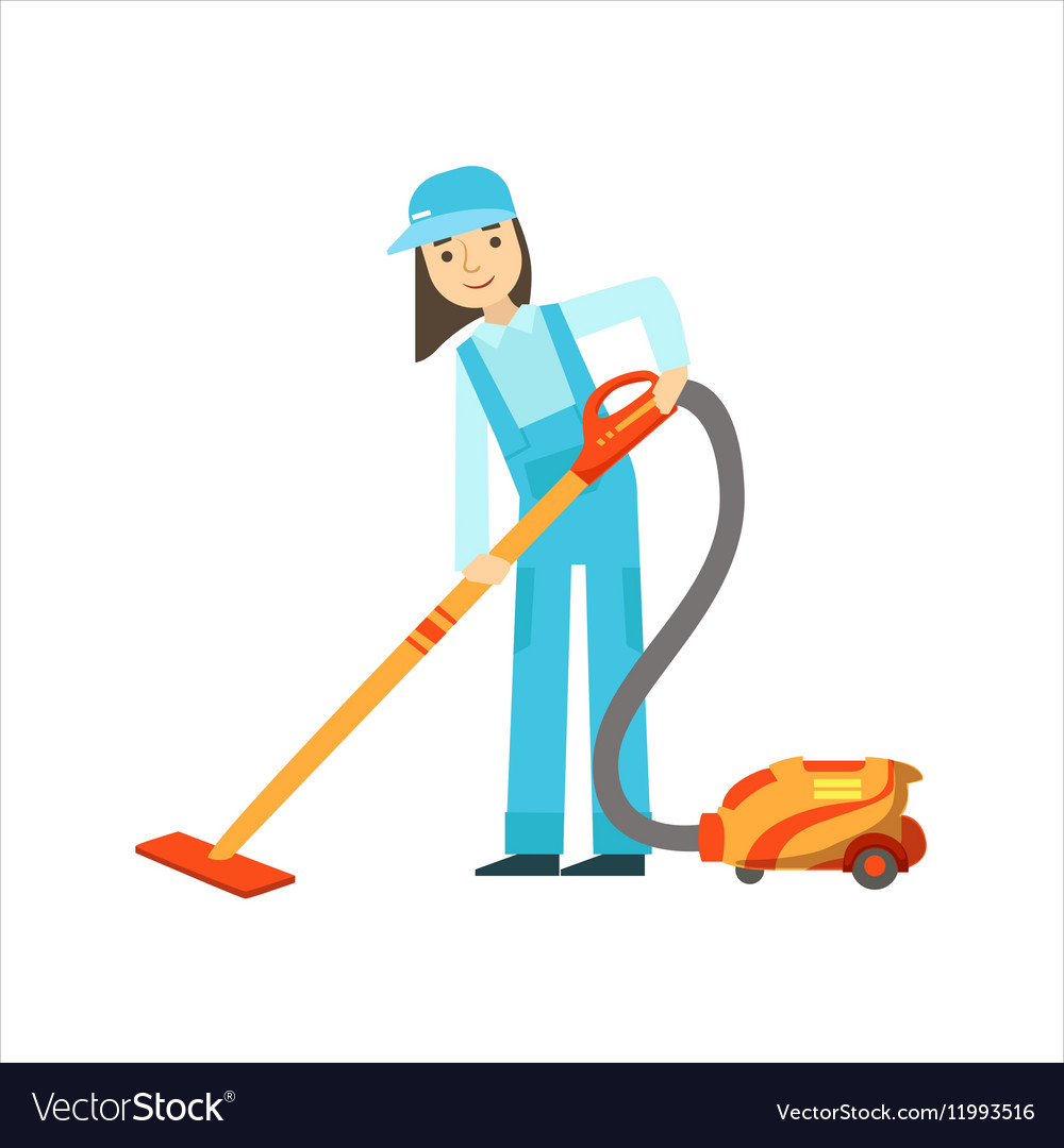 Girl Using The Vacuum Cleaner Cleaning Service
