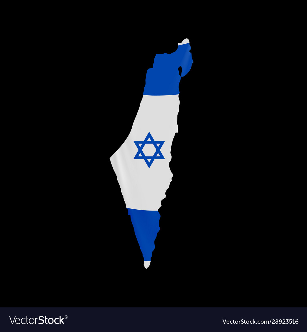 Hanging israel flag in form map state of