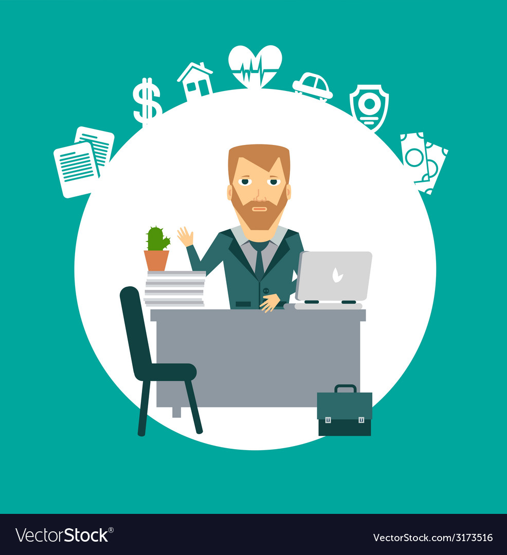 Insurance Agent Sitting At A Desk Royalty Free Vector Image