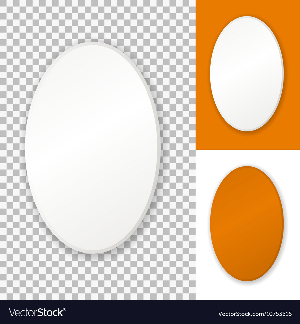 White oval frame isolated on transparent Vector Image