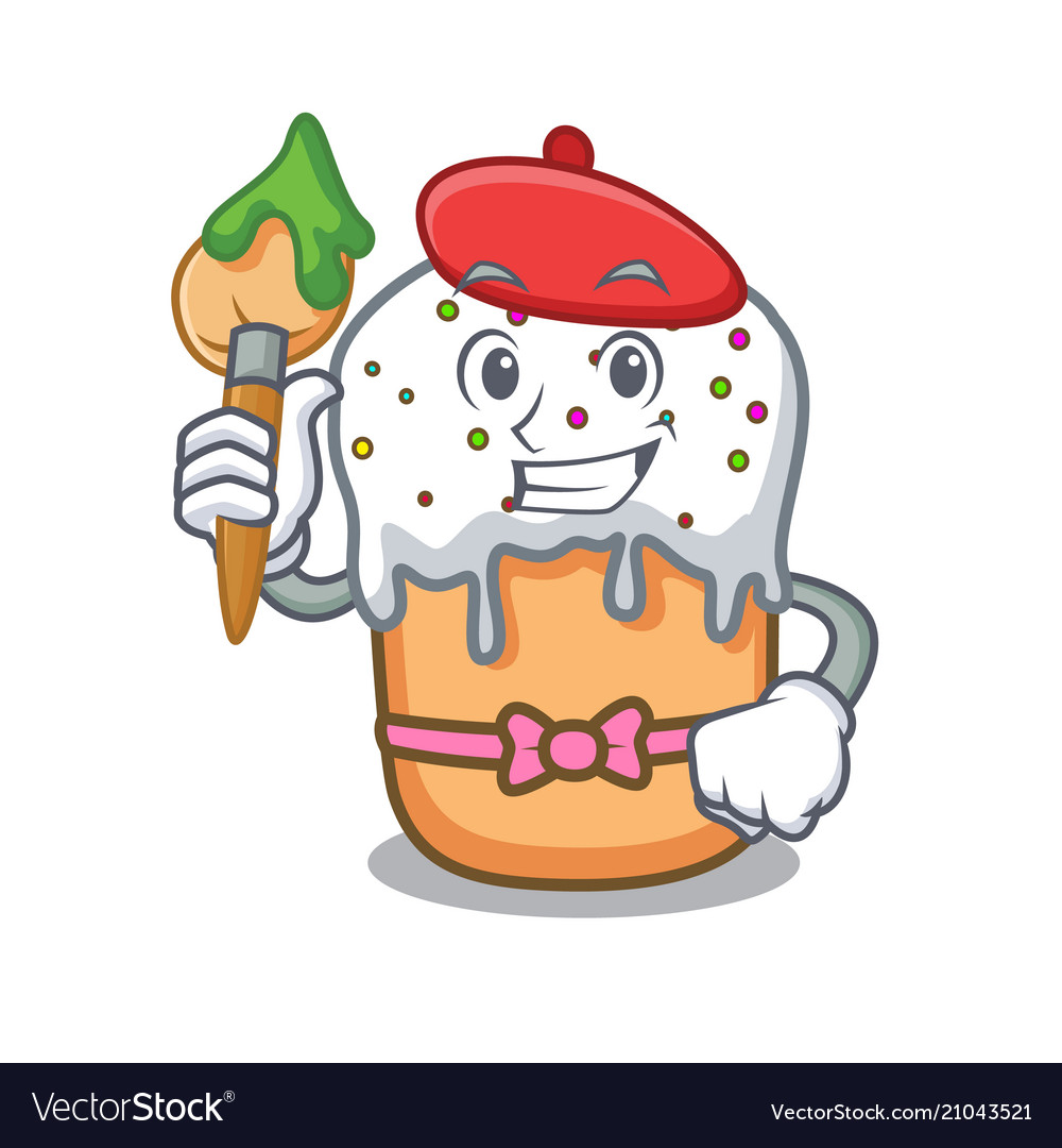 Artist easter cake character cartoon
