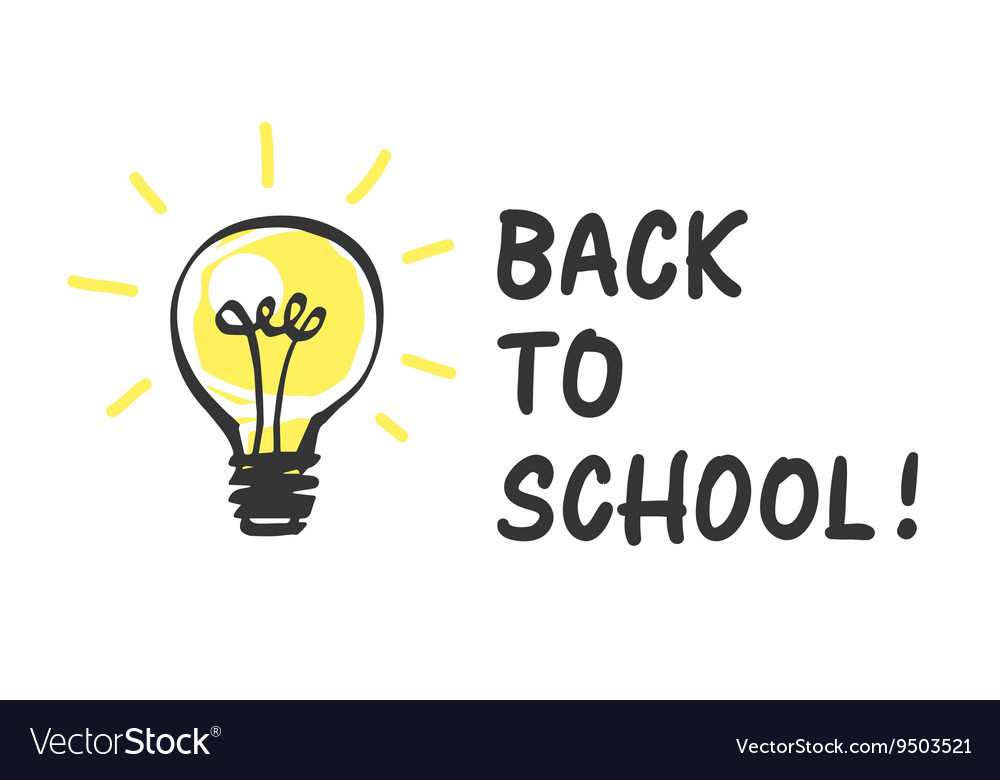 Back to school logo with light bulb