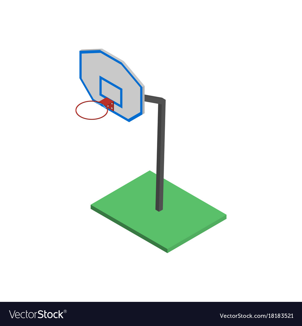 Basketball shield with basket in isometric