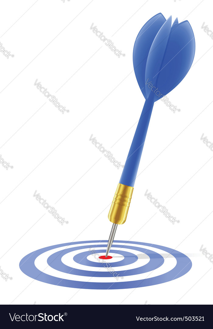 Blue dart hitting the target vector image