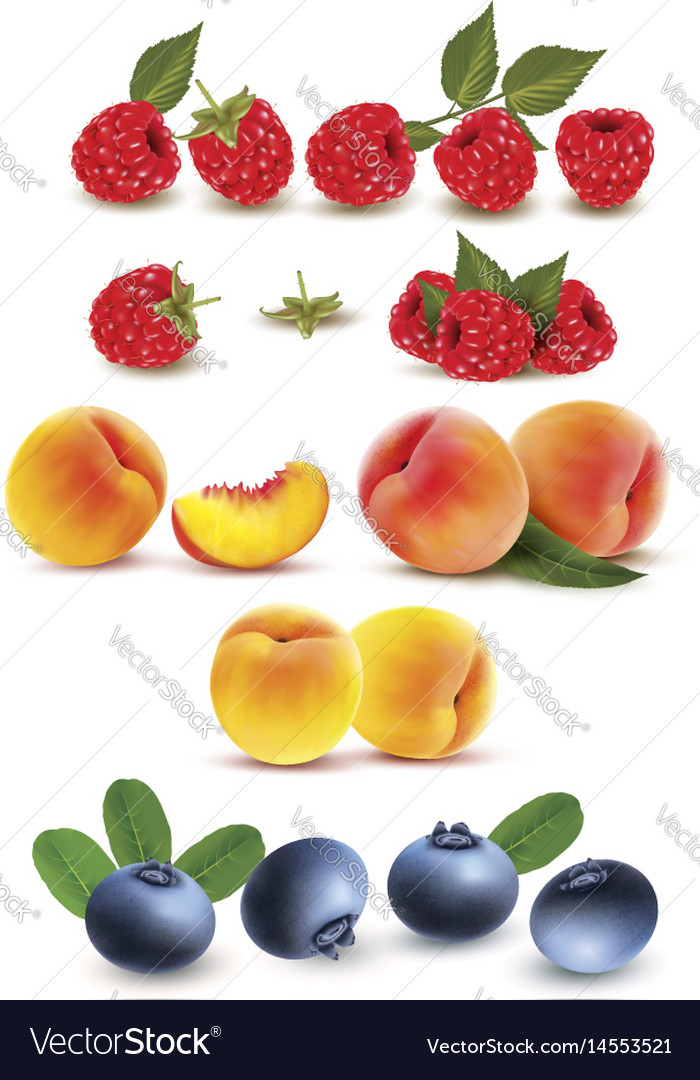 Collection of fruit and berries raspberry peach